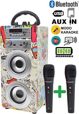 dynasonic altavoz karaoke bluetooth 10w